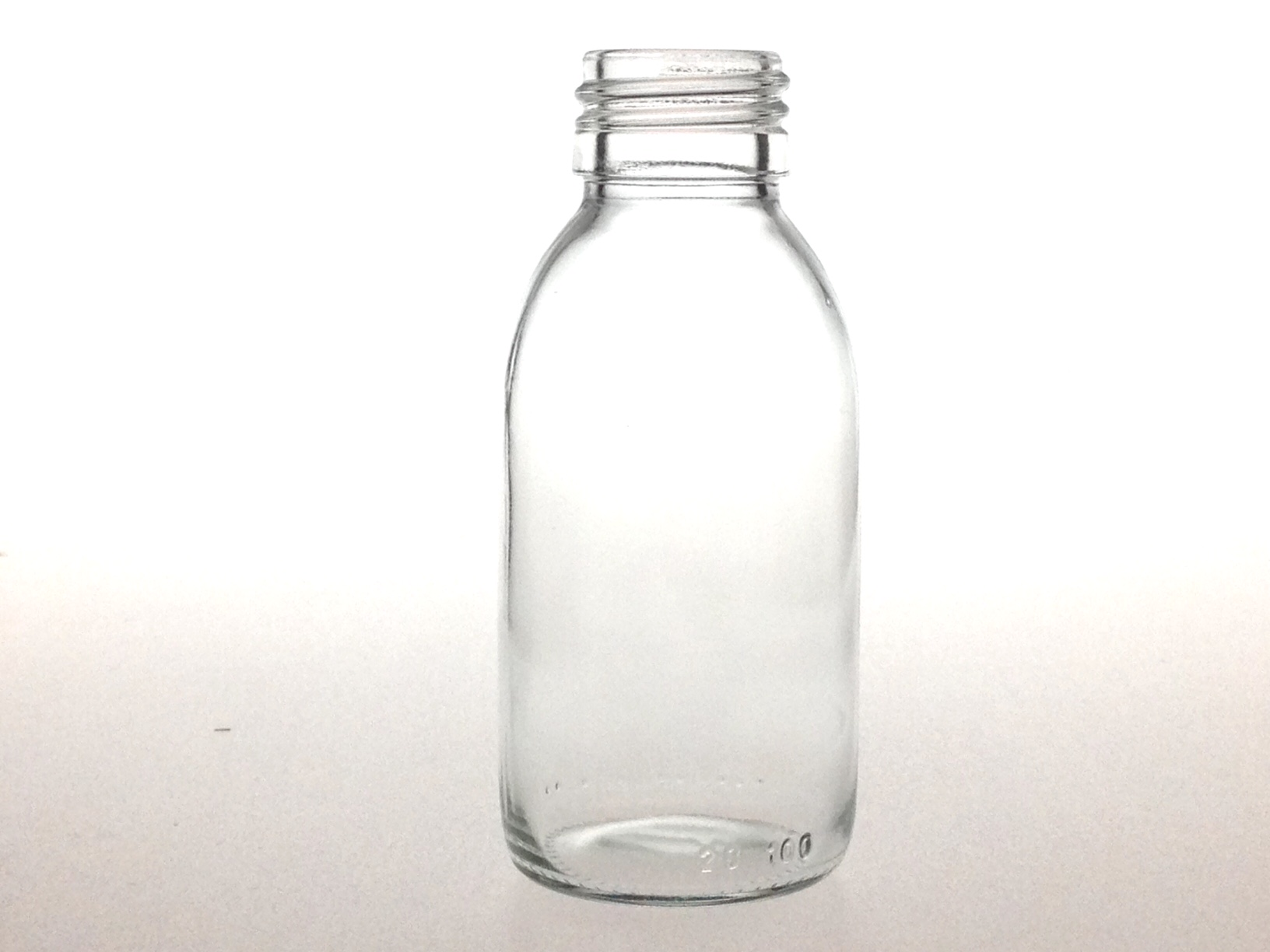 CLEAR GLASS 90 ML SYRUP BOTTLE PP 28