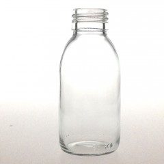 CLEAR GLASS 100 ML SYRUP BOTTLE PP 28