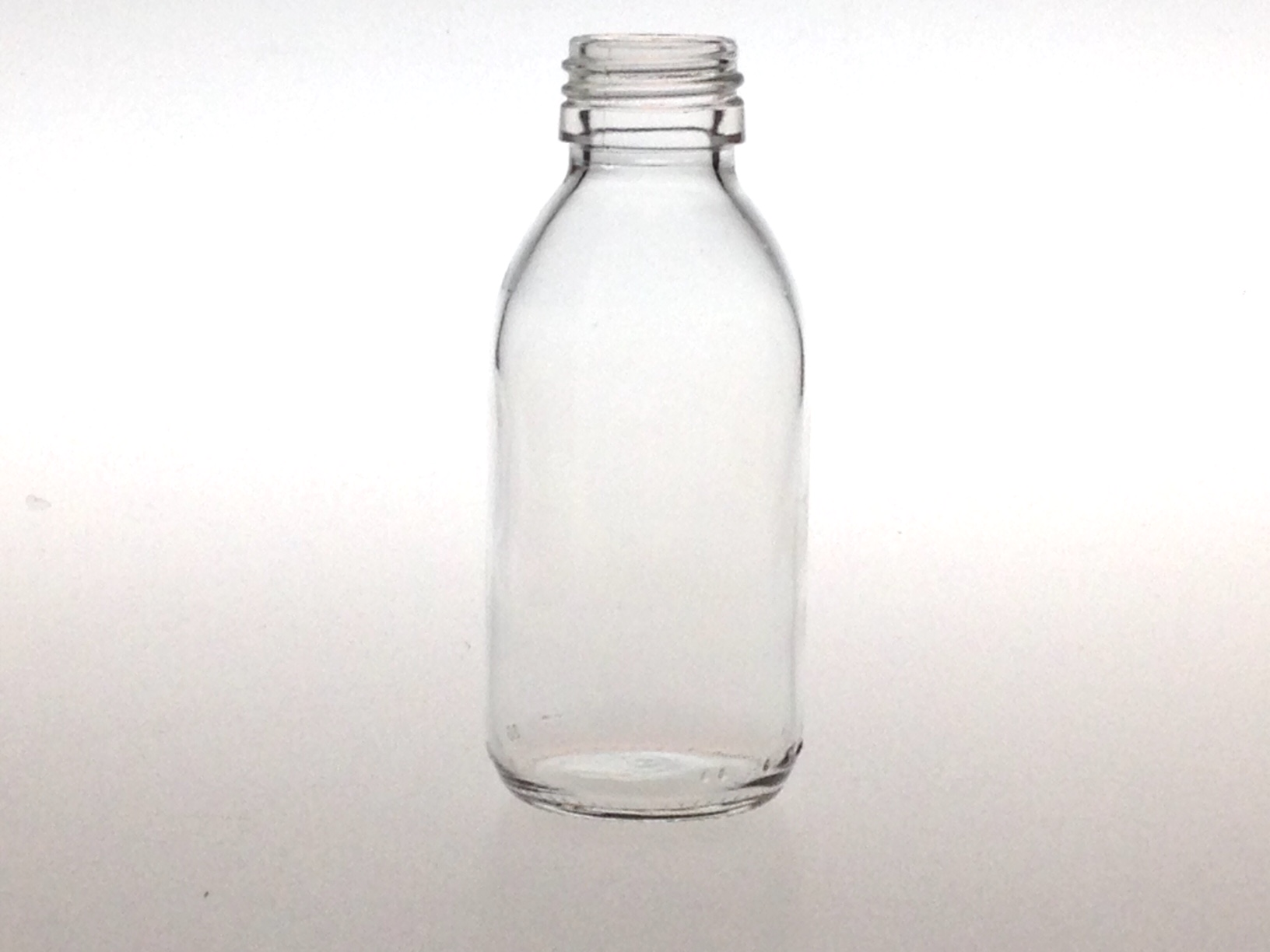 CLEAR GLASS 125 ML SYRUP BOTTLE PP 28