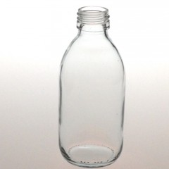 CLEAR GLASS 180 ML SYRUP BOTTLE PP 28
