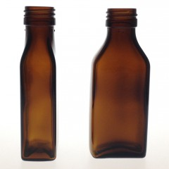 RECTANGULAR AMBER GLASS 100 ML BOTTLE  NECK PP 28
