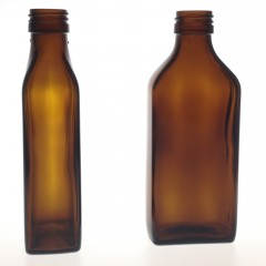 RECTANGULAR AMBER GLASS 200 ML BOTTLE  NECK PP 28