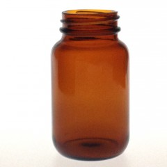 WIDE MOUTH AMBER GLASS 125 ML R3/38 BOTTLE