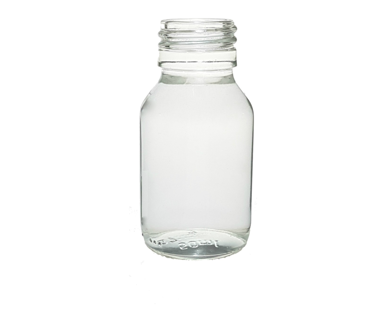 CLEAR GLASS 50 ML SYRUP BOTTLE PP 28