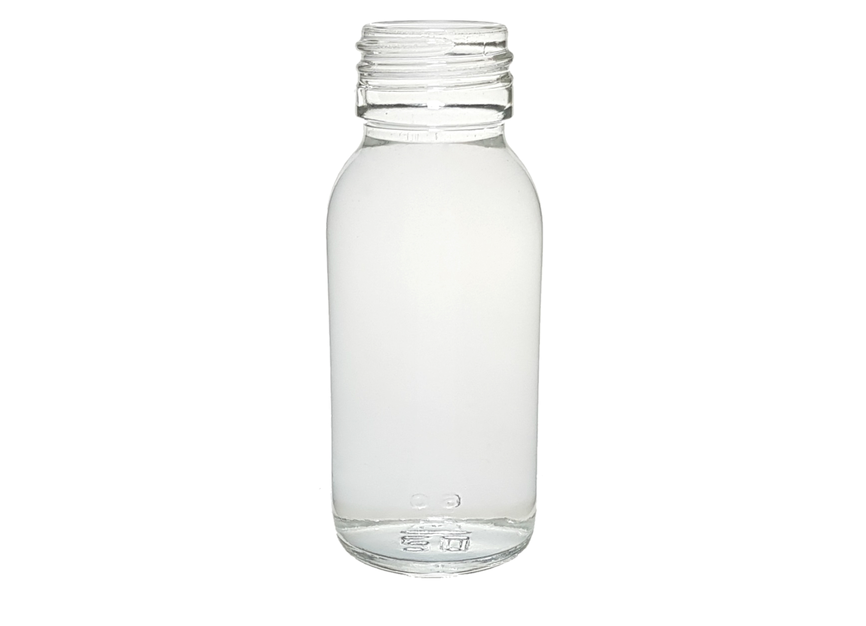 CLEAR GLASS 60 ML SYRUP BOTTLE PP 28