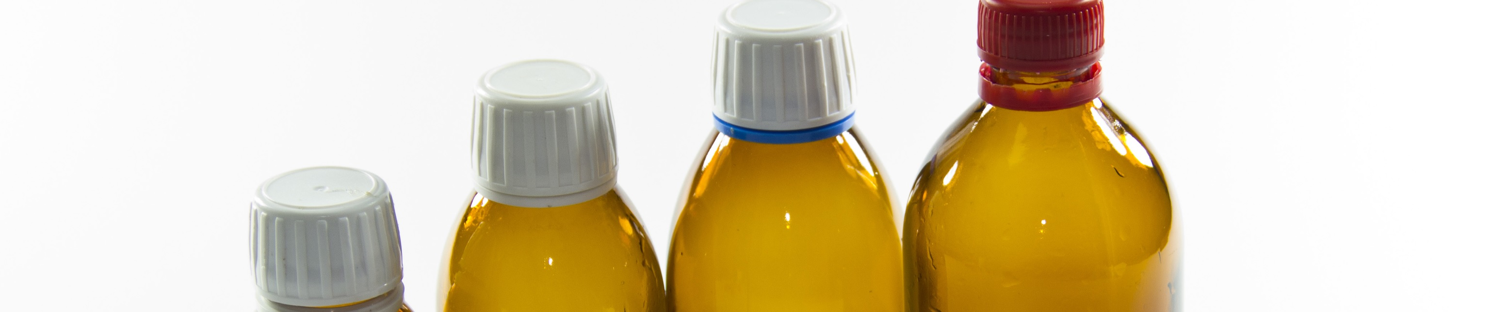 Amber glass syrup bottles